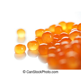 High Quality Red Caviar. Isolated On white - High Quality...