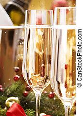 nowy, rok, celebrowanie, Szampan