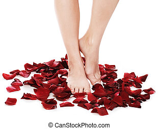 Spa Feet and Rose Petals. Isolated on white