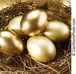 Easter. Golden Eggs In A Nest