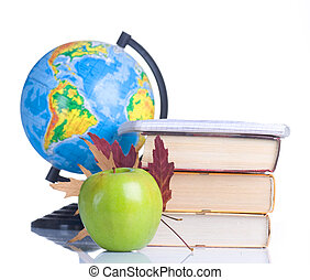 Back To School Concept School Books And Green Apple Isolated...