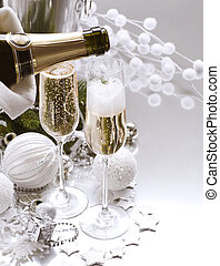 nuevo, año, tarjeta, diseño, champaña
