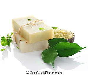 Natural Handmade Soap Over White