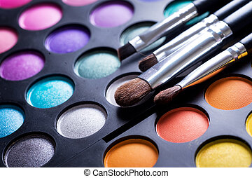 Maquillaje, cepillos, maquillaje, ojo, sombras