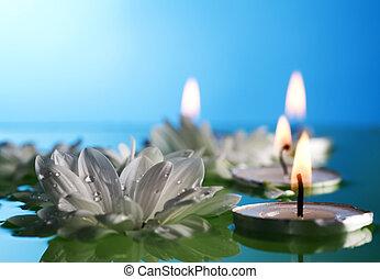 queimadura, flutuante, velas, e, flores