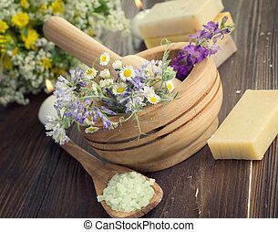 Natural Herbal Products. Spa Cosmetics