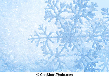 Snowflakes border over Snow. Winter Holiday Background