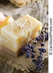 Handmade Soap Closeup And Lavender Flowers