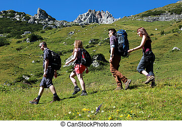 Group of young hikers