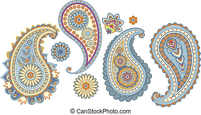 Paisley - traditional Asian elements Paisley on a white...