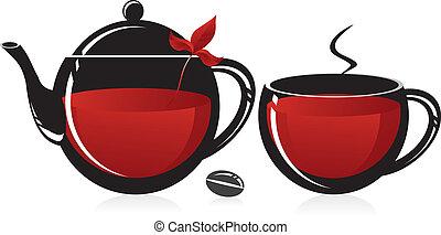 Glass teapot and mug