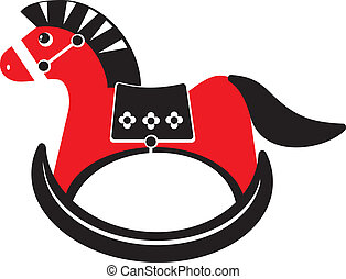 rocking horse - Children's illustration - black and red...