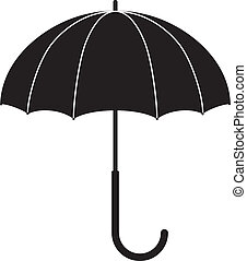 umbrella - Childrens illustration - black silhouette of an...