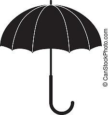 umbrella - Children's illustration - black silhouette of an...