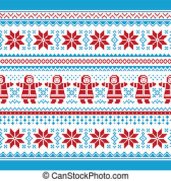 Christmas vector card - traditional - Xmas winter seamless...