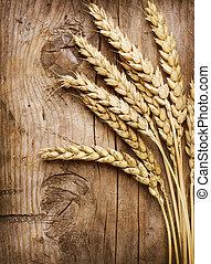 alimento, madera, trigo, Plano de fondo, orejas