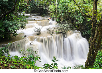 Huay Mae Khamin waterfall in tropical rainforest, Thailand