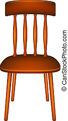 Wooden chair in retro design on white background