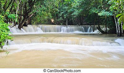 Huay Mae Khamin waterfall in tropical rainforest, Thailand