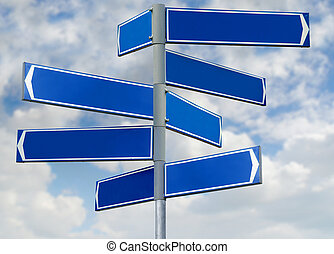 Blank blue direction sign signpost - Blank blue direction...