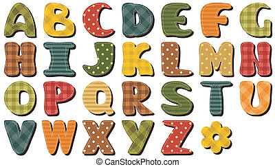 textile scrapbook alphabet vector illustration