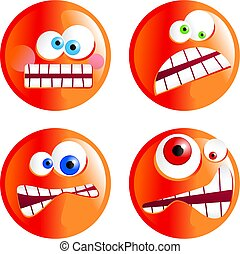 angry smilies - set of funny cartoon angy smilie emoticons