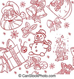 Seamless Christmass background doodles in red color