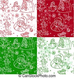 Seamless Christmass background doodles in coloe variations