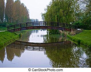 Water, brug, op, onrust