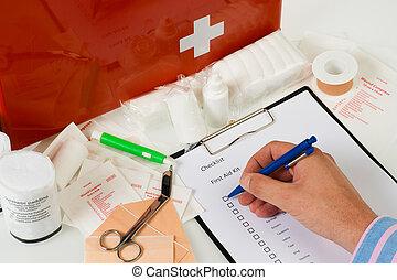 Hulp, jaarlijks, controleren, eerst, uitrusting