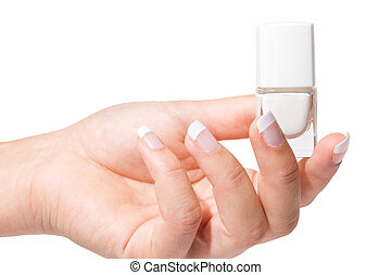 Woman%u2019s hand with French manicure isolated