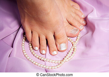 French pedicure for woman cosmetic