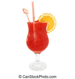 Strawberry Daiquiri Cocktail isolated on white background