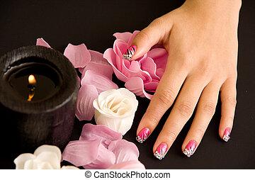 Women's, manicure, arranged