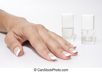 Woman%u2019s hand with French manicure
