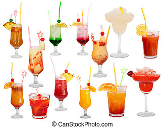 Big set of cocktails isolated on white