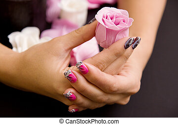 Womens manicure arranged