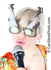 singer in funny glasses isolated on white
