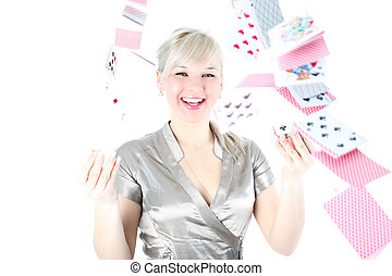 girl with cards isolated on white