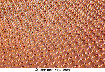 terracotta metal tile roof, background