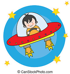 child flying a spaceship
