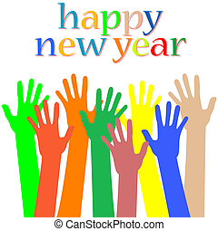 happy new year with many hands