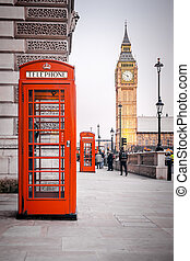 red phone boxes - A photography of a red phone box in London...