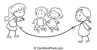 Kids skip rope - illustration of kids skip rope on a white...