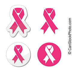 Vector set of pink ribbons symbols - Health campaign -...
