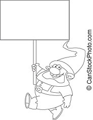 gnome with blank sign outlined - illustration of a gnome...
