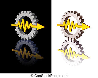curve - gear-graph logos on black and white background - 3d...