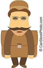 mustache man with portfolio
