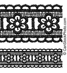 Black openwork lace seamless border Vector illustration