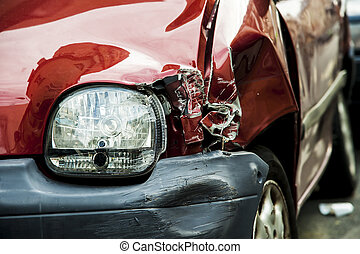 Red accident car - Details of a red car in an accident